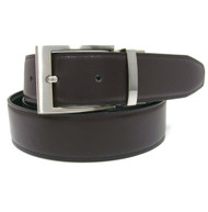 Dark Brown Reversible 35mm Leather Belt - Reverse side Black