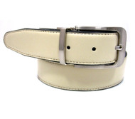 Cream Reversible 35mm Leather Belt - Reverse side Black