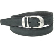 Double Stitched Genuine Nubuck Leather 30mm Belt - Charcoal