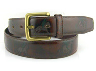 Polo Themed Men's Leather Belt - Brown