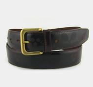 Tennis Themed Men's Leather Belt - Burgundy