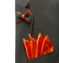 Antonio Ricci Fashion Mini Bow Tie Lapel Pin & Pocket Square - Orange