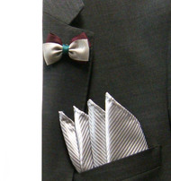 Antonio Ricci Fashion Mini Bow Tie Lapel Pin & Pocket Square - Burgundy & Grey
