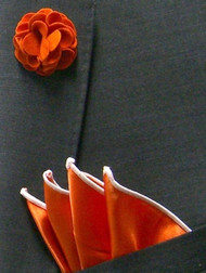 Antonio Ricci Fashion Rose Lapel Pin & Pocket Square - Orange and White