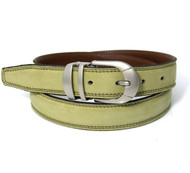 Double Stitched Genuine Nubuck Leather 30mm Belt - Sage Green