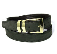Double Stitched Genuine Nubuck Leather 30mm Belt - Dark Olive