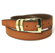 Double Stitched Genuine Nubuck Leather 30mm Belt - Burnt Orange