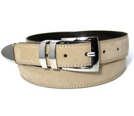 Double Stitched Genuine Nubuck Leather 30mm Belt with Buckle Tip - Bone