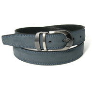 Double Stitched Genuine Nubuck Leather 30mm Belt - Denim Blue