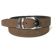 Double Stitched Genuine Nubuck Leather 30mm Belt - Coffee