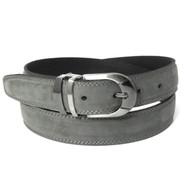 Double Stitched Genuine Nubuck Leather 30mm Belt - Grey