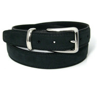 Double Stitched Genuine Nubuck Leather 30mm Belt - Black