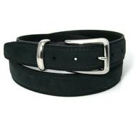 Double Stitched Genuine Nubuck Leather 30mm Belt - Black