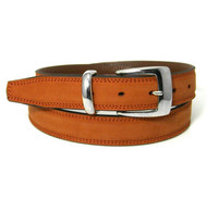 Double Stitched Genuine Nubuck Leather 30mm Belt - Pumpkin
