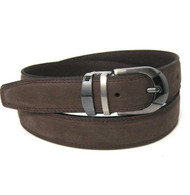 Genuine Suede Leather 30mm Belt with Silver Buckle - Brown