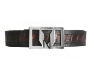 Vestigium Genuine Caiman Belly & Calf Dress Belt - Black Cherry