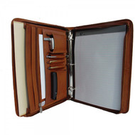 Piel Leather Zip Padfolio Case with 3 Ring Binder