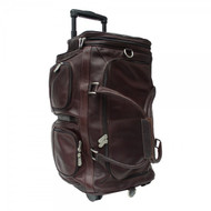 Piel Leather Large Travel Duffel Bag with Wheels