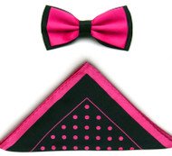 Antonio Ricci Two-Tone Polka Dot Hankie/Bow Tie Set - Black & Fuchsia
