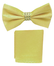 Antonio Ricci Fancy Rhinestone Hankie/Bow Tie Set - Yellow