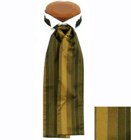 Formal 100% Woven Silk Ascot - Gold and Tan Tones