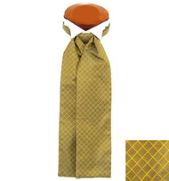 Formal 100% Woven Silk Ascot - Gold Tone