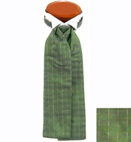 Formal 100% Woven Silk Ascot - Green and Gold Tone