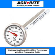 Acu-Rite Stainless Steel Instant Read Dial Meat Thermometer  NSF certified with pocket clip sheath