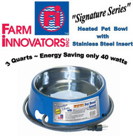 Deluxe Stainless Steel 3 qt Heated Dog, Cat, & Pet Bowl