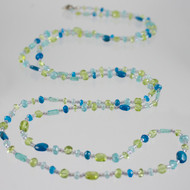 "Apatite and Peridot Gemstone Laying Necklace  37"" long Signature Design"