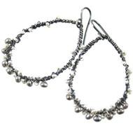 Freshwater Pearl Earrings Oxidized Sterling Silver Wire Wrapped Hoop