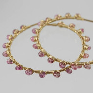Pink Tourmaline Wire Wrapped 14k GF Hoop Earrings