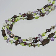 Smoky Quartz, Amethyst, Peridot Gemstone Multi-Strand Necklace
