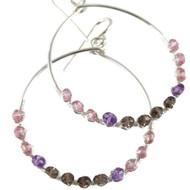 Amethyst, Smoky Quartz, Pink Topaz SS Earrings