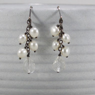 Freshwater Pearl & Quartz Dangle Earrings Oxidized Sterling Silver