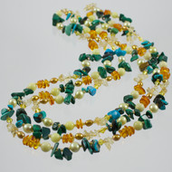 Amber, Citrine, Turquoise, Malachite, Jasper Multi Strand Necklace