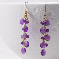 Amethyst Earrings Gemstone 14k Gold Filled Lever Back