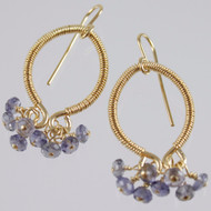 Iolite Earrings 14k Gold Filled Wire Wrapped Hoop