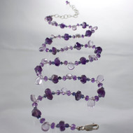 Amethyst gemstone necklace.  Sterling silver clasp.