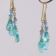 Apatite and Tanzanite Earrings 14k Gold Filled
