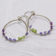 Amethyst Tanzanite Vesuvianite Sterling Hoop Earrings
