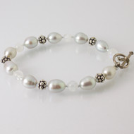 FW Pearl Bracelet, moonstone and sterling silver beads.