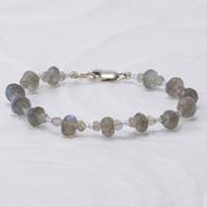 Labradorite Bracelet, Sterling Silver Clasp, Layering Bracelet