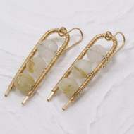 Rutilated Quartz Wire Wrapped Earrings 14k Gold Filled
