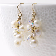 Freshwater Pearl Earrings Dangle Cluster 14k GF 2364