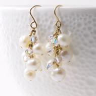 Freshwater Pearl Earrings Dangle Cluster 14k GF 2364
