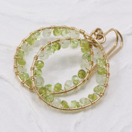 Peridot, Prehnite, Vesuviantite Hoop Earrings, Wire Wrapped 14k Gold Filled
