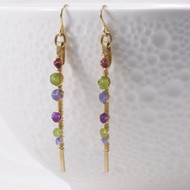 Gemstone Earrings, Wire Wrapped, 14k Gold Filled