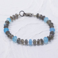 Labradorite and Blue Chalcedony Gemstone Bracelet, Sterling Silver