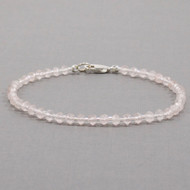 Rose Quartz Bead Bracelet Sterling Silver Clasp